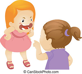 Girl Fight - Illustration Featuring Two Girls Fighting