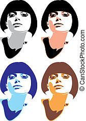 girl, figure, dans, les, différent, couleurs
