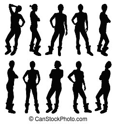 girl figure silhouette in various poses illustration in black color