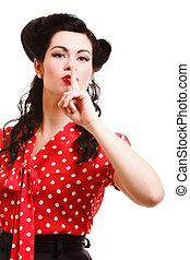 girl finger near mouth silence gesture
