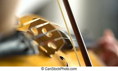 Girl fingering the strings playing the violin. Close up -...