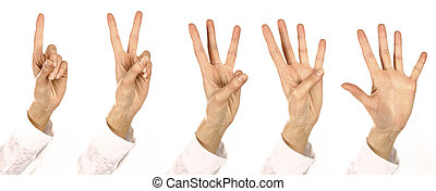 girl Fingers - woman Fingers consider Numbers from one up to...