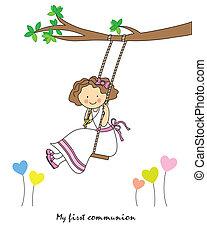 Girl First Communion. girl swinging