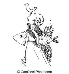 Girl, fish, seagulls, seaweed, starfish, ring. - Hand...