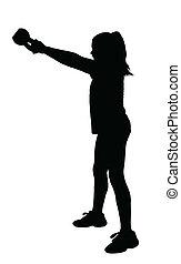 Girl Fitness Exerciser Silhouette - Girl with Ponytail Hair ...