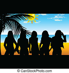girl five on beach for background illustration