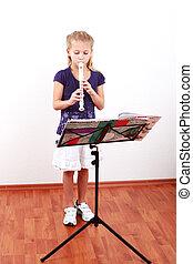 girl, flûte, jouer