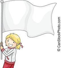 girl, flagbearer