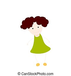 Girl. Flat Vector Illustration. Isolated on white background.