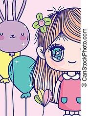 girl, fleur, ballons, anime, cheveux, mignon