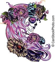 girl, fleur, couronne, crâne, sucre