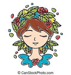 girl, fleur, hair.
