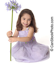 girl, fleur, joli, tenue