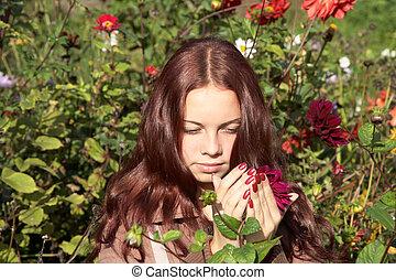 girl, fleur, prend, mains