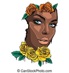 girl, fleurs, coloré, figure