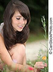 girl, fleurs, cueillette