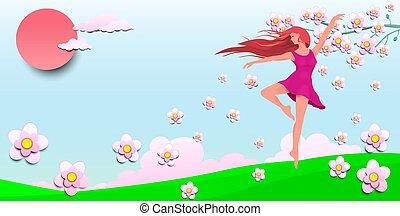 girl, fleurs, danse