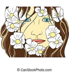 girl, fleurs, figure