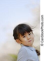 girl, fleurs, japonaise, old), cerise, années, (5