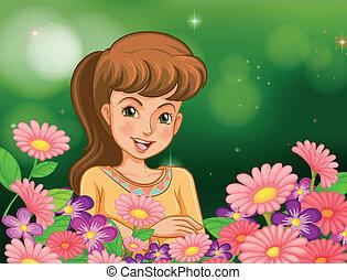 girl, fleurs, jardin, sourire