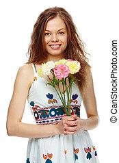 girl, fleurs
