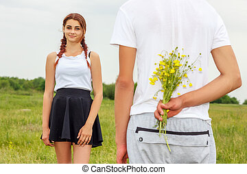 girl, fleurs, type, tenue, donner