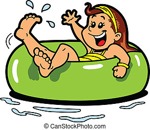 Happy Girl Floating on the Water in an Inner Tube Flotation Device