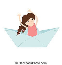 girl floating on a paper boat