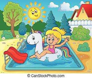 Girl floating on inflatable unicorn 3