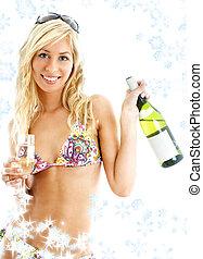 girl, flocons neige, vin