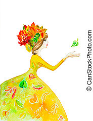 girl floral watercolor