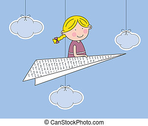 Girl flying a paper airplane