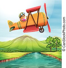 Girl flying airplane over the river