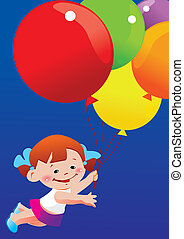 Girl flying on balloons.