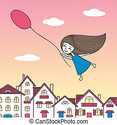 Girl flying over the city with a balloon in hand.