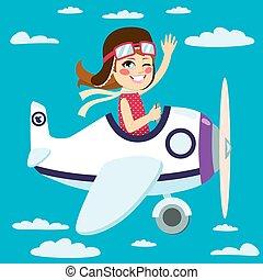 Girl Flying Plane