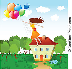 Girl flying with balloons. Vector
