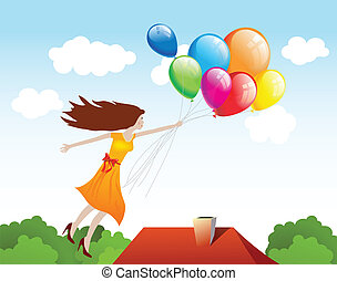Girl flying with balloons. Vector background