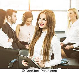 girl, fond,  Business, fonctionnement, équipe