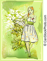 girl, fond, résumé, vert, naturel, jeune