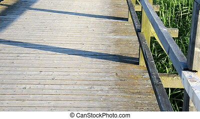 girl foot bridge people