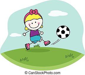 girl, football