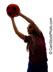 girl, football, silhouette, jouer