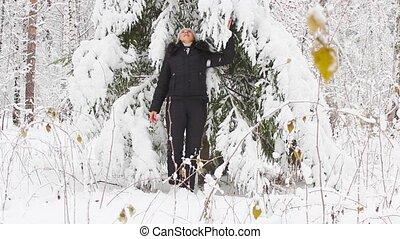 girl, forêt, hiver