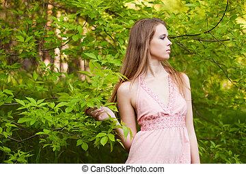 girl, forêt, jeune