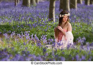 girl, forêt, printemps, campanules