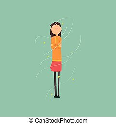 Girl freezing and shivering on a very windy day outdoors vector Illustration