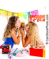 girl friends party kissing puppy chihuahua present