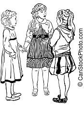 girl-friends, schets, drie, meisje, jurken, spreken