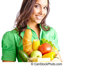 Girl from supermarket - Young woman with sack of healthy...